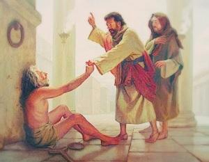 Pedro y Juan subian al Templo para la Oracion. Habia un hombre tullido junto a la puerta. Hech 3 1-9