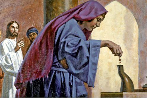 Jesus frente a la alcancia del Templo